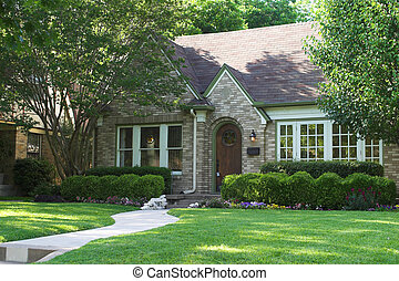 house for sale with lock box on door; beautiful and extensive landscaping house for sale with lock box on door; beautiful and extensive landscaping