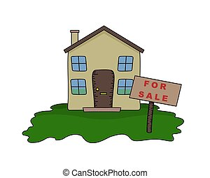 House for Sale - Illustrated House with For Sale sign
