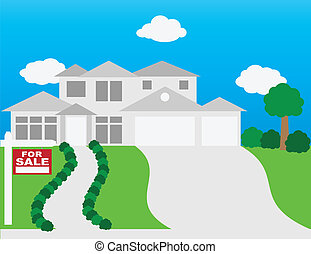 House For Sale Illustration - For Sale Sign on Front Lawn of...