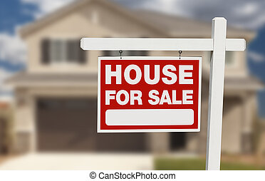 House For Sale Real Estate Sign and New Home