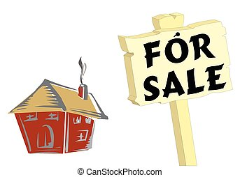 House for sale sign - House with for sale sign isolated on ...