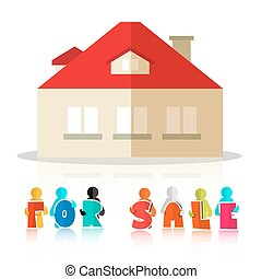 House for Sale Vector Illustration