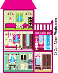 House for the girl in a cut - Vector illustration. It is...