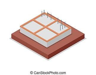 House foundation pouring isometric 3D icon
