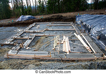 House foundation - The footing for the foundation of a house...
