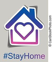 House frame and heart inside sticker.