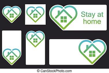 House frame inside shape of heart icon.