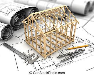 house frame model - 3d illustration of house blueprints and...