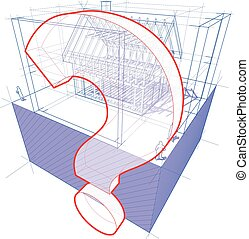 house framework with dimensions and question mark diagram