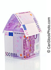 house from € banknotes - a house built with money seem € on...