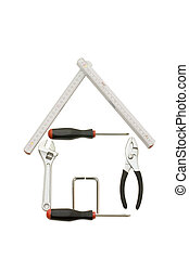 House from building tools isolated on white