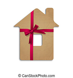 House from cardboard with ribbon and bow. Concept vector...