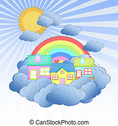 house from recycle paper on a cloud over the sky with rainbow