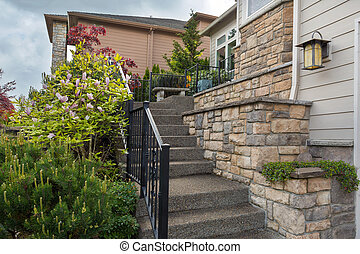 House Front Cultured Stone Work Siding and Stair - House...