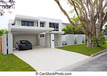 House front - Stylish house front with sports car
