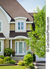 House front - Front shot of cute house with white door