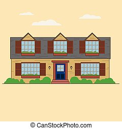 House front view vector illustration. cottage