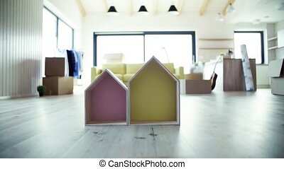 House furnishing and a moving in new home concept. Slow...