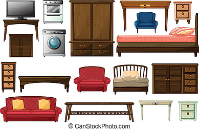 House furnitures and appliances - Illustration of the house...