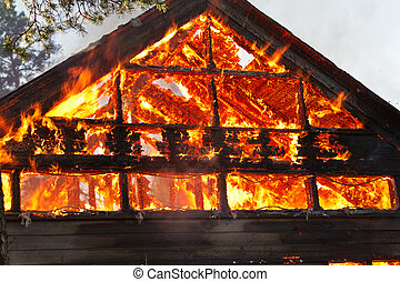 House gable engulfed in flames