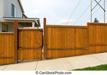 House Garden Backyard Wood Fence with Gate
