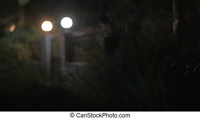 House gates with lanterns at night - House gates with lit...