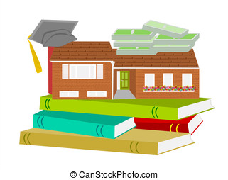 house graduation hat books