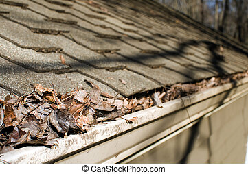 house gutter filled with fallen leaves in the autumn selective focus