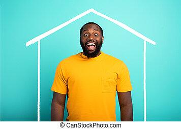 house., ha, man, cyan, bakgrund., köpt, förvåna