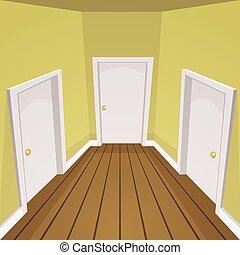 House Hallway - Cartoon illustration of the house hallway.