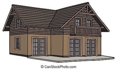 Hand drawing of a brown family house