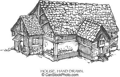 House. Hand drawn sketch illustration. Vector eps8