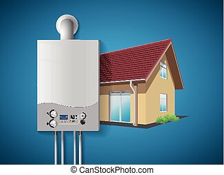 House heating concept - modern home gas fired boiler - energy and cash savings