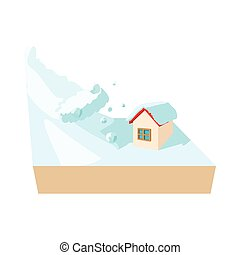 House hit by avalanche icon, cartoon style