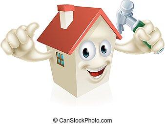 House Holding Hammer - An illustration of a cartoon house...