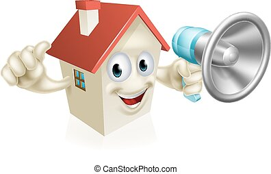 House Holding Megaphone - An illustration of a cartoon house...