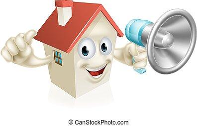 House Holding Megaphone - An illustration of a cartoon house...