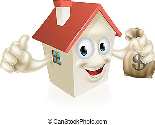House Holding Money - An illustration of a cartoon house...