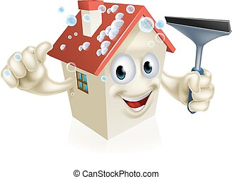 House Holding Squeegee - A cartoon House mascot Holding a...