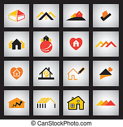 house, home and simple residential apartment vector icons