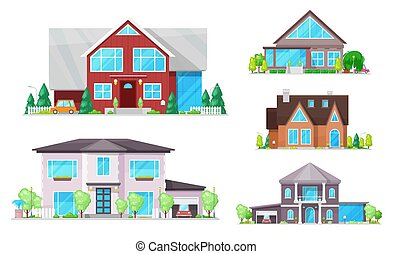 House, home, cottage buildings with roofs, windows