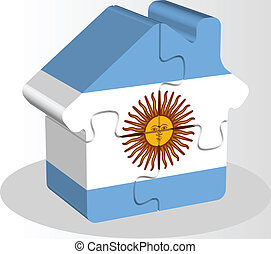 house home icon with Argentinian flag in puzzle