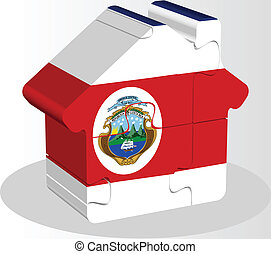 house home icon with Costa Rica flag in puzzle