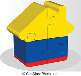 house home icon with Ecuador flag in puzzle