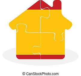 house home icon with Spain flag in puzzle