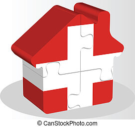 house home icon with Swiss flag in puzzle - Vector...