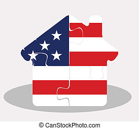 house home icon with USA flag in puzzle