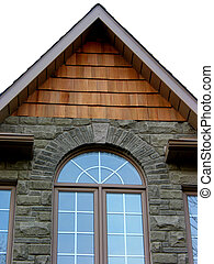 House home window - Rounded window of a new house, white...
