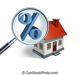 Mortgage rate search and bank interest percentage loan for house hunting and searching for real estate homes for sale concept as a 3D illustration.