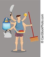 House Husband Multitasking Vector Cartoon Illustration